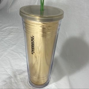 Starbucks Gold/Green Dot Acrylic Insulated Tumbler